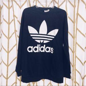 Black Adidas Trefoil Crewneck Sweatshirt